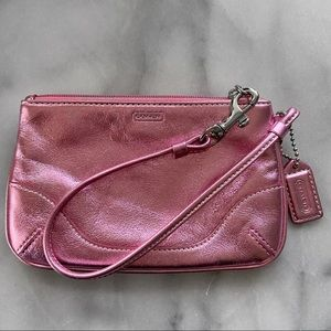 Coach Pink Metallic Leather Wristlet Pouch